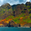 Flashes Of Red And Green Along The Na Pali - Na Pali Coastline, Kauai, Hawaii