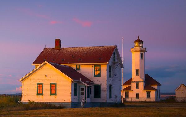 Point Wilson Lighthouse As Sunset Turns To Twilight