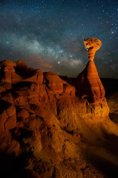 Milky Way Above The Toadstool Hoodoos - Toadstool Hoodoos, Kanab, Utah