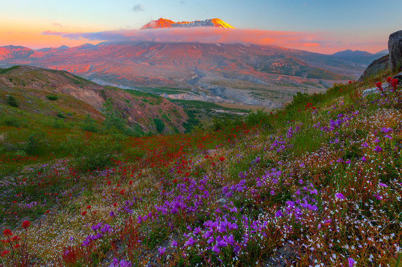 Mt St Helens Under Sunset Light