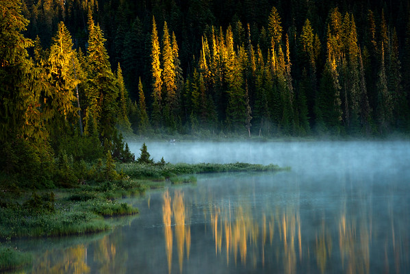 Reflected Glancing Morning Light Across The Lake - Mount Rainier National Park, WA