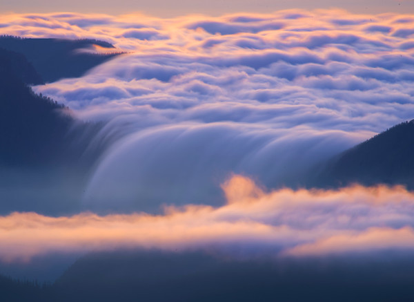 Clouds In Long Exposure Dipping Into Valley - Mt Fremont Fire Lookout, Mount Rainer National Park, WA
