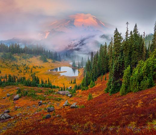 Tipsoo Lake In Autumn From Top_Horizontal -Mount Rainier National Park, Washington