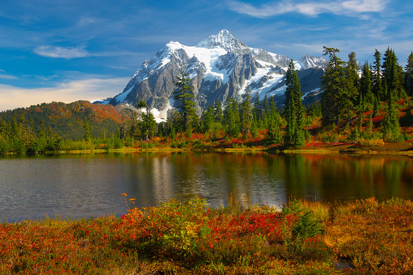 Mt Shuksan With Fall Foliage From Picture Lake - North Cascades National Park, WA
