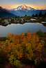 Sunset Glow On Mt Baker At Peak Of Fall - North Cascades National Park, WA