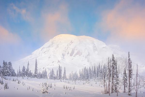 Mt Rainier In Winter From Near Paradise Inn - Paradise Area, Mount Rainier National Park, WA