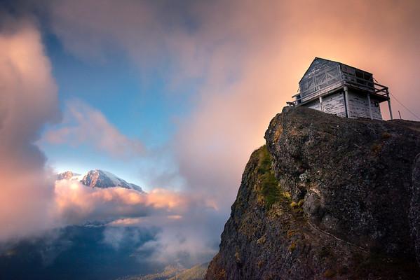 Mt Rainier From High Top Lookout Near Sunset - Mount Rainier National Park, WA