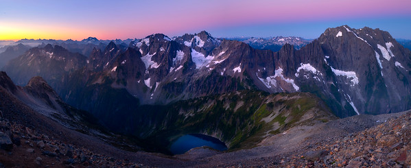 Pano From Sahale Arm and Doubtful Lake