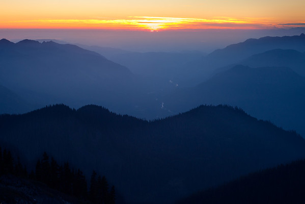 Intersecting Layers Of Sunset Color - Skyline Divide, Mount Baker, North Cascades National Park, WA