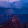 Twilight Hour And Lightning Over The Grand Canyon - North Rim, Grand Canyon Nat Park, Arizona