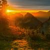 Sunset Fills The Warmth Of The Valley Pinnacle Peak Trail, Plummer Peak, Mt Rainier National Park, WA