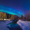 A Creek Stream Under The NIght Blue Sky -Chena Hot Springs Resort, Fairbanks, Alaska