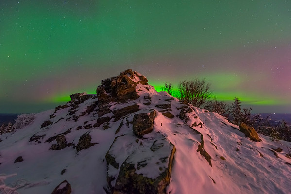 Hilltop View Of The Lights -Ester Dome, Fairbanks, Alaska