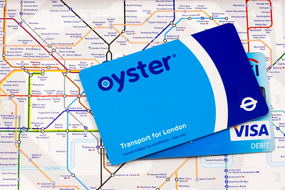 Oyster and Visa Card on a London Underground Map