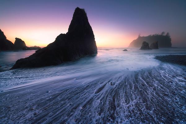 Crashing Waves Receding Back Into Ocean
