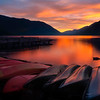 Sunset Fire Over Lake Crescent - Lake Crescent Lodge, Olympic National Park, WA
