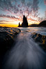 Funnel Of Tides Leading Into The Sunset -   Rialto Beach, Olympic National Park, Washington