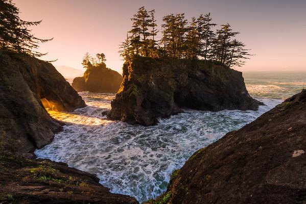 Hole In Boardman Rock At Sunrise - Samuel Boardman State Park, Southern Oregon Coast