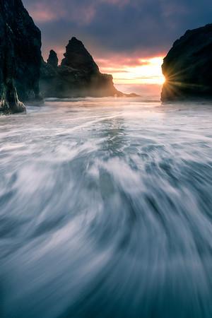 Curvy Tides Coming Into Shore