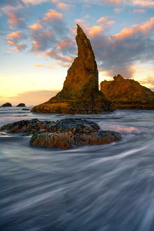 The Witches Hat Under Sunrise Clouds - Bandon Beach, Oregon Coast