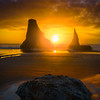 Bandon Beach Sunset Rock - Bandon Beach, Southern Oregon Coast, OR