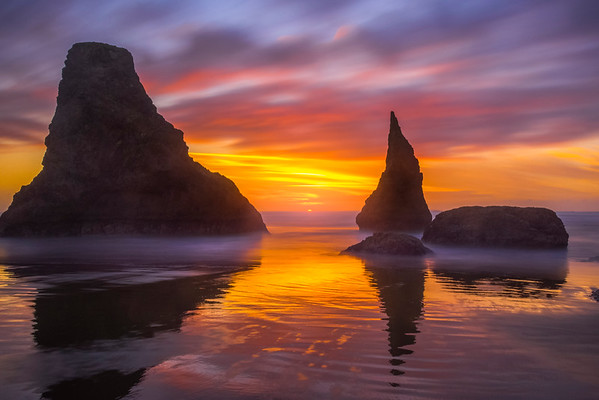 Sunset Reds Over Long Exposure On Bandon - Bandon Beach, Southern Oregon Coast, OR