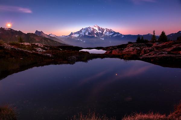 Moonrise Showcase Light On Mt Baker - North Cascades National Park, WA