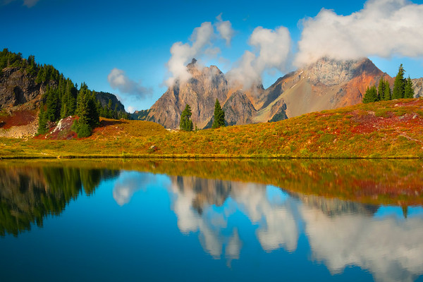 The Three Peaks Reflected In Tarn - North Cascades National Park, WA