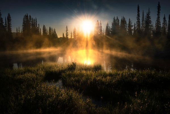 Sunburst Sweetness Over Misty Lake - Mount Rainier National Park, WA