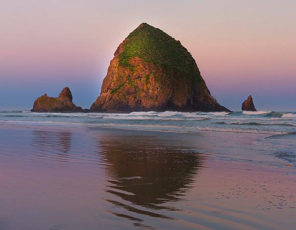 Sunrise color at Cannon Beach along the Oregon coast