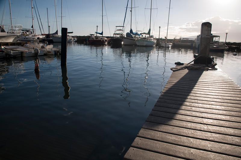Lahaina - Lahaina harbor dingy dock with sailboats in the background