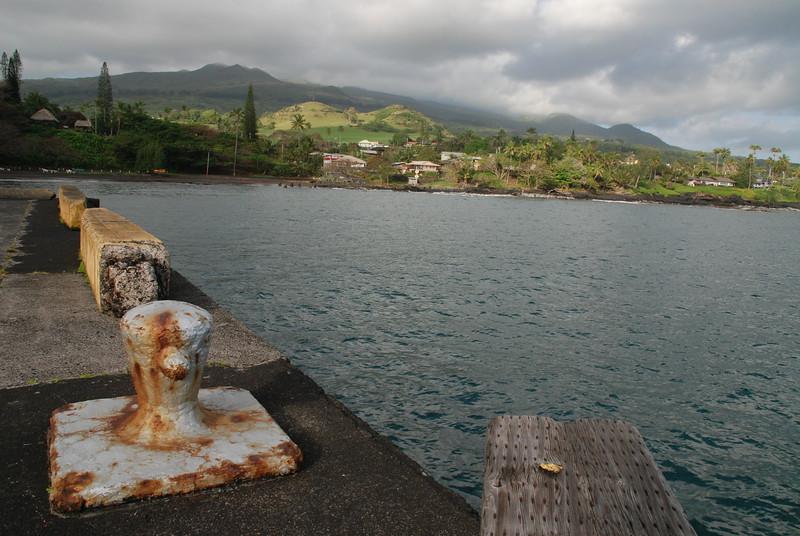 hana bay pier with boat cleats