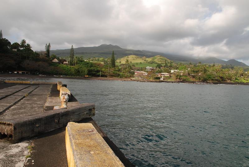 hana bay pier view of hills