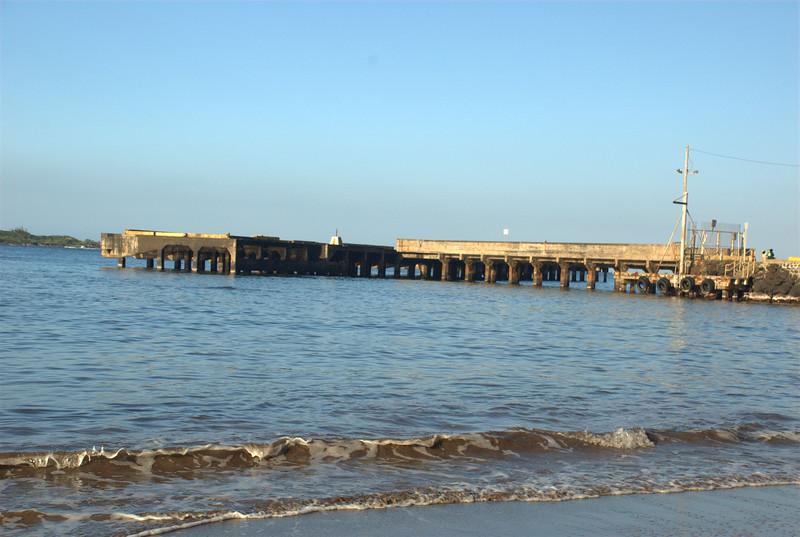 hana bay pier in afternoon glow