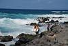 North Shore - young surfers passing by memorials at Ho'okipa