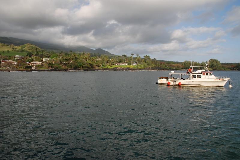 hana bay pier view of boat