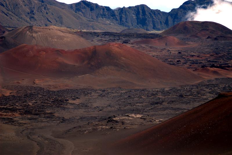 Haleakala - pu'u (crater) cinder cones dot the floor of Haleakala