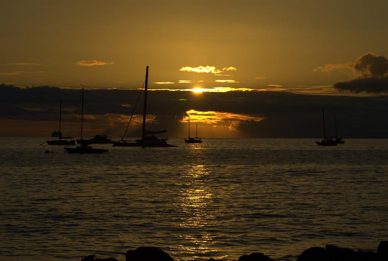 Lahaina - sunset from Mala Wharf with Molokai on right, Lahaina HI
