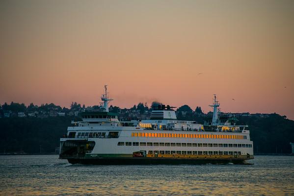 Sunset Reflections In The Windows - Seattle Waterfront - Seattle, WA