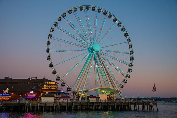 A View of Seattle's Ferris Wheel From The Boardwalk - Seattle Waterfront - Seattle, WA