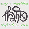 Decorative Thanks Card. Poster with black lettering and green hand drawn branches on light grey background.
