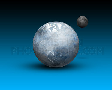 Frozen earth and moon