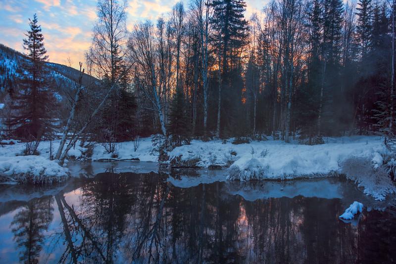 Sunrise Behind The Pond -Chena Hot Springs Resort, Outside Fairbanks, Alaska