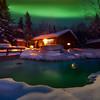Northern Lights and Creek Reflections -Chena Hot Springs Resort, Fairbanks, Alaska