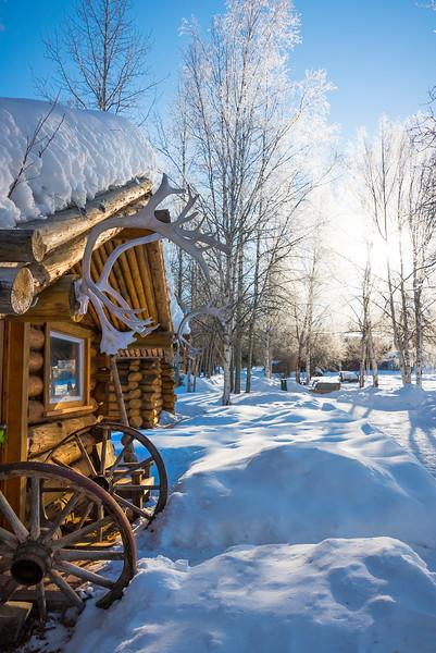 A Winter Alaskan Home Early Morning -Chena Hot Springs Resort, Fairbanks, Alaska