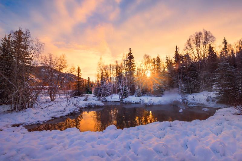 Fire Sunset Reflections Over The Pond -Chena Hot Springs Resort, Outside Fairbanks, Alaska