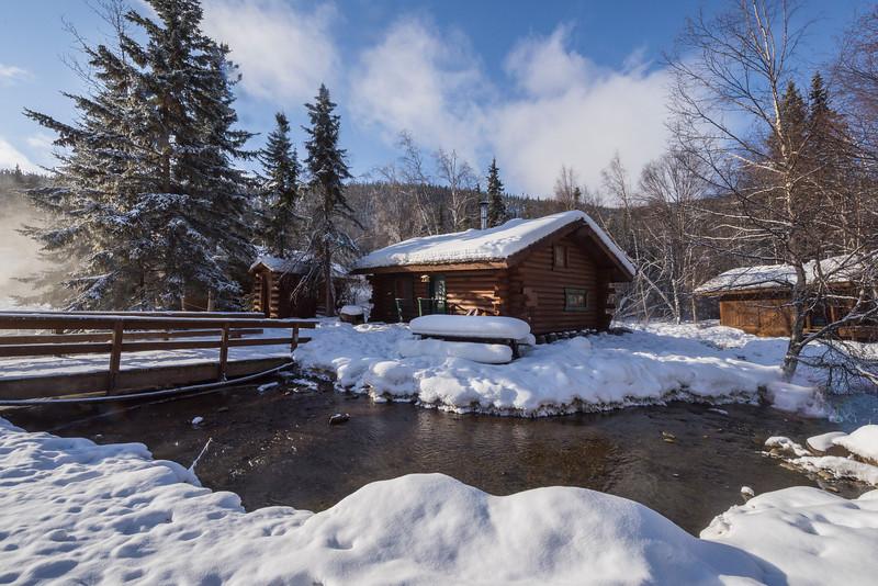 Cabin Along The River In Afternoon Light -Chena Hot Springs Resort, Outside Fairbanks, Alaska