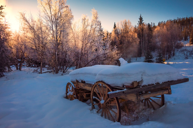 Wheel Wagon Sunrise -Chena Hot Springs Resort, Fairbanks, Alaska