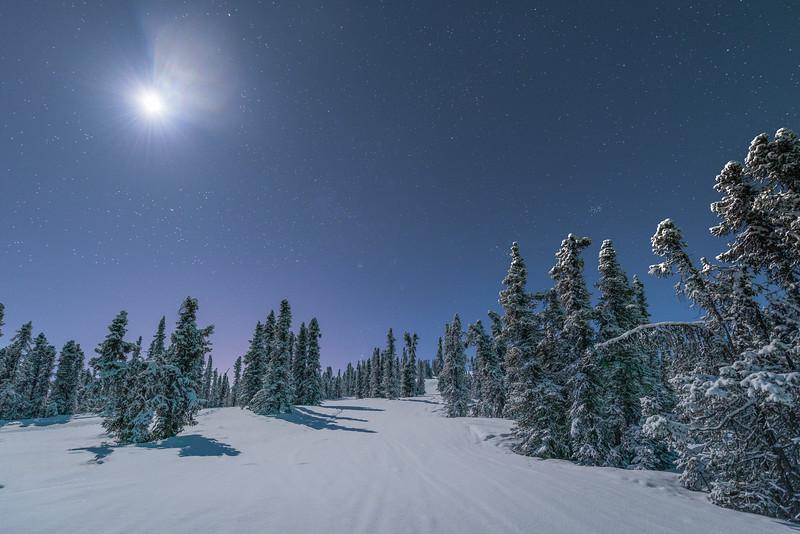 Under A Winter Moon -Mt Aurora Skiland, Fairbanks, Alaska