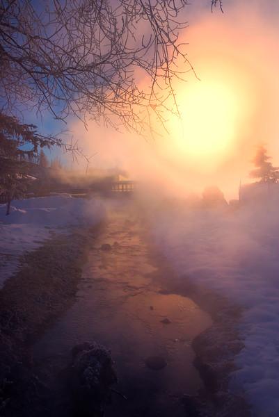 Sunrise Through The Hot Springs -Chena Hot Springs Resort, Fairbanks, Alaska